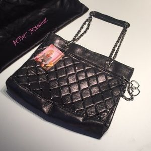 New Betsey Johnson Tote Glam Betsey Pewter Tote